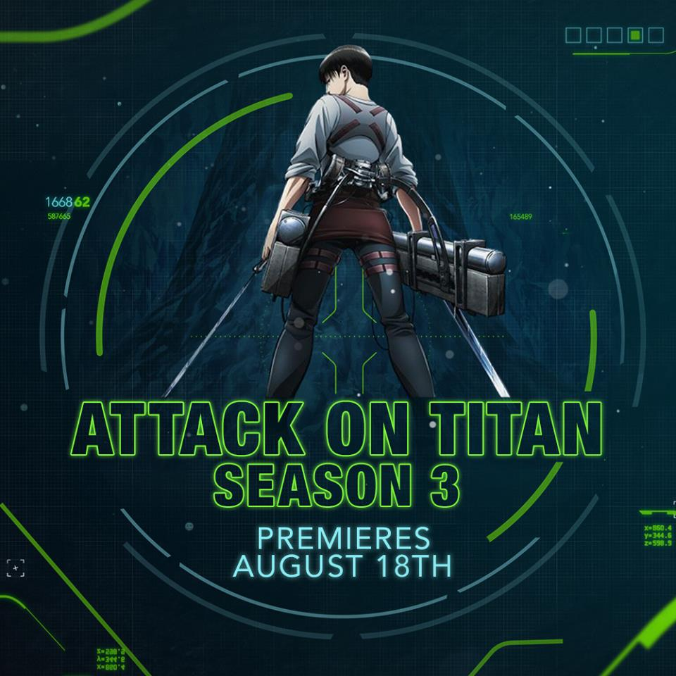 BREAKING NEWS: Attack On Titan Season 3 to Premiere on Toonami Along with JoJo's Bizarre Adventure: Diamond is Unbreakable on August 18th!