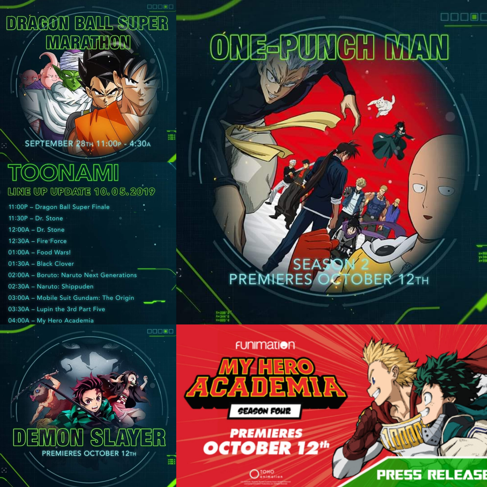 Toonami Announcement Rundown: Dragon Ball Super Marathon Sept. 28th, Dr. Stone Doubleheader on Oct. 5th, Demon Slayer Dub and One-Punch Man S2 Premieres Oct. 12th on Toonami, My Hero Academia S4 SimulCast/Dub Announced Oct. 12th Toonami Premiere Still Unknown